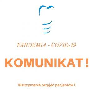 Komunikat, przyjęcia pacjentów podczas COVID