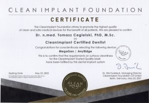 Clean Implant Foundation Certificate for Megagen Implants