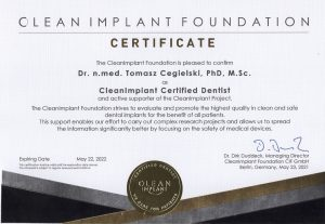 Clean Implant Foundation Certificate