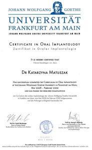 dr Katarzyna Matuszak, Certyfikat