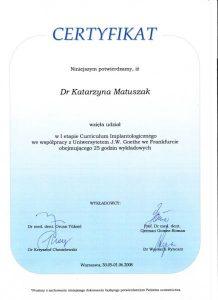 certyfikat, dr Katarzyna Matuszak