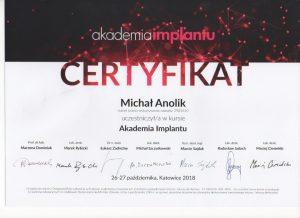 Akademia Implantu, certyfikat ukończenia kursu