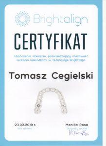 Nakładki w technologii Brightalign - Certyfikat
