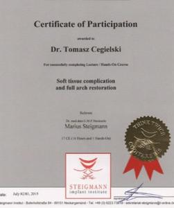 certyfikat dr Tomasz Cegielski, soft tissue complication and full arch restoration