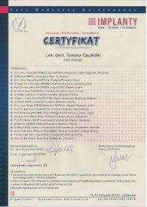 certyfikat dr Tomasz Cegielski