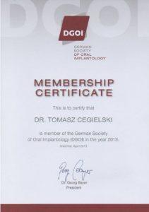 certyfikat dr Tomasz Cegielski, membership