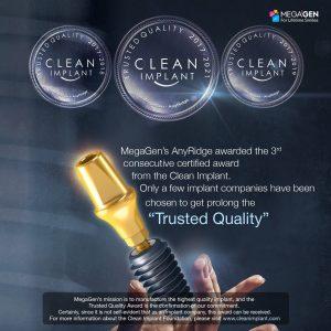 Implanty MegaGen trzeci raz z rzędu uzyskały certyfikat najwyższej czystości przyznawany przez niezależną organizację Clean Implant Foundation.